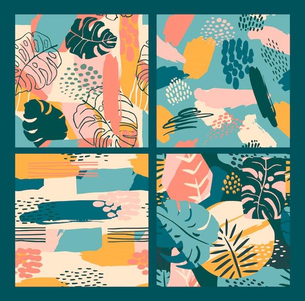 熱帯植物と芸術的な背景を持つ抽象的な創造的なシームレスパターン。