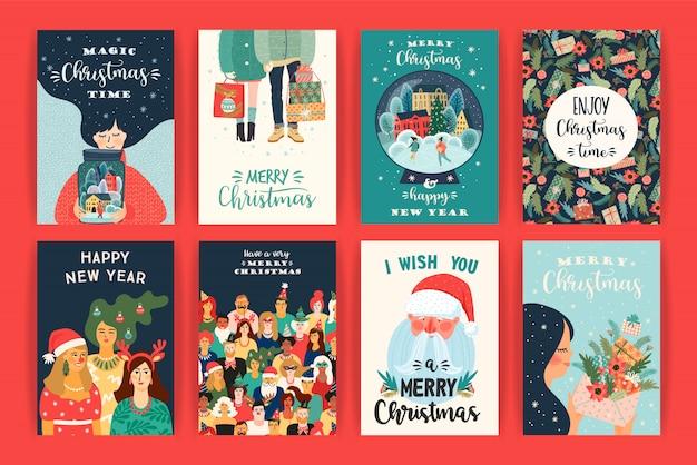 Набор иллюстраций рождества и счастливого нового года. векторные шаблоны дизайна.