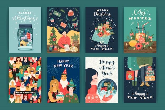 クリスマスと新年あけましておめでとうございますイラストのセット。ベクターデザインテンプレート。