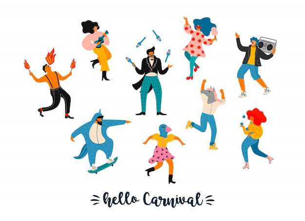 カーニバル。明るいモダンな衣装で面白いダンスの男性と女性のベクトルイラスト。
