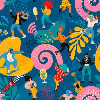 Вектор бесшовный образец с забавными танцующими мужчинами и женщинами в ярких современных костюмах.