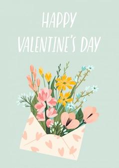 Иллюстрация цветов в конверте. концепция дизайна вектор на день святого валентина