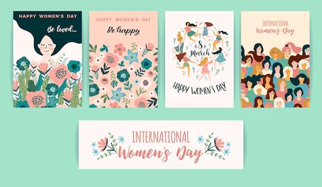 Международный женский день. векторные шаблоны с милыми женщинами