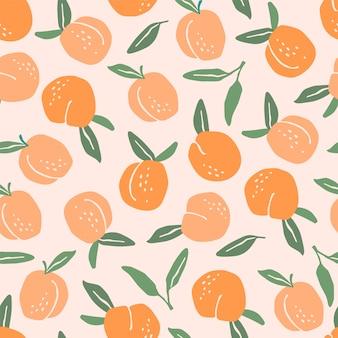 桃とシームレスなパターンベクトル。