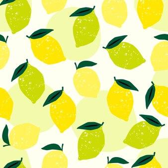レモンとライムのシームレスなパターン。トレンディな手描きのテクスチャ。