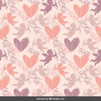 かわいいピンクのバレンタインパターン