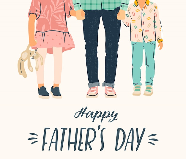 С днем отца. иллюстрации. мужчина держит за руку детей.