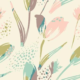 抽象的な花のシームレスなパターンのチューリップ。トレンディな手描きのテクスチャ