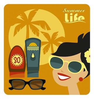 夏の生活のイラスト