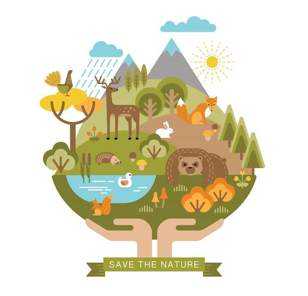 保護自然のベクトル図。