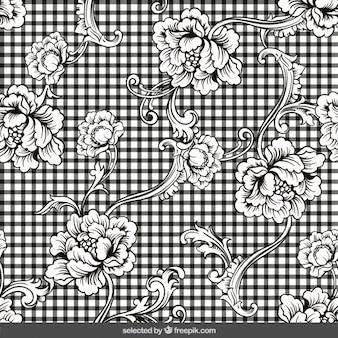 ギンガムの背景に観賞用の花