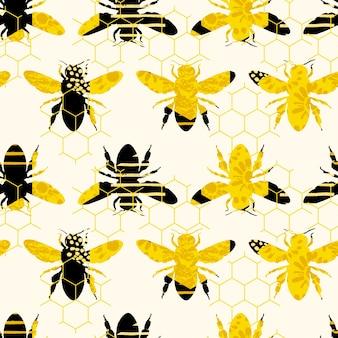 蜜蜂とシームレスな幾何学模様。現代抽象的な蜂蜜のデザイン。