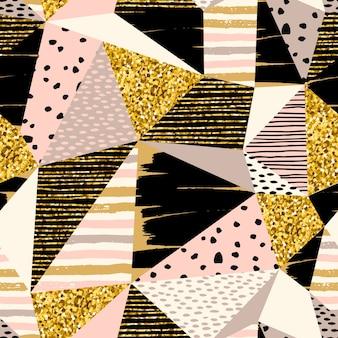 Абстрактные геометрические бесшовные шаблон с элементами золота блеска.
