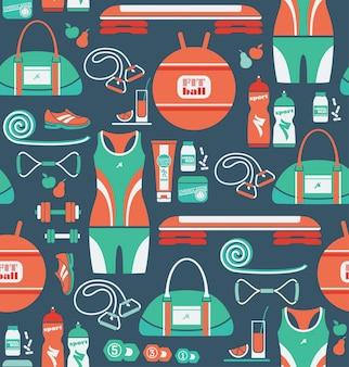 フィットネスのアイコンとシームレスなパターン
