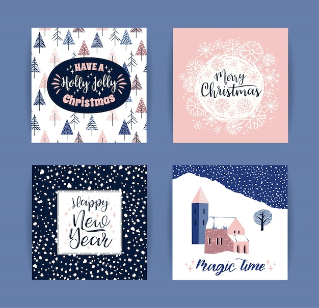 Набор художественных творческих рождественских и новогодних открыток.