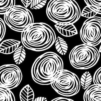バラの抽象的な花のシームレスなパターン。トレンディな手描きのテクスチャ。