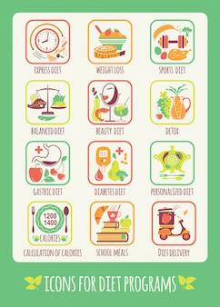 ダイエットプログラムのアイコン。デザインの要素