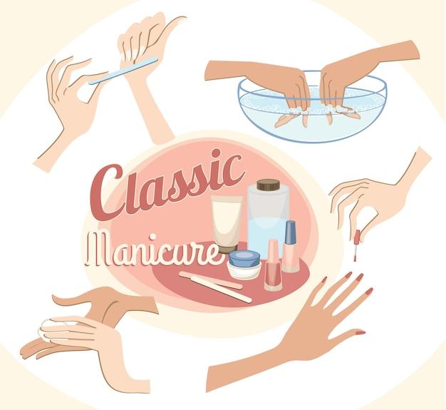 古典的なマニキュアの美しい女性の手