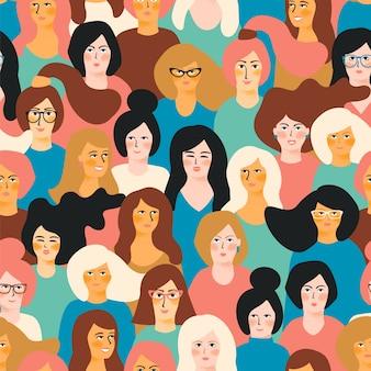 国際婦人デー。女性の顔とベクトルシームレスなパターン。