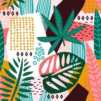 熱帯の葉と抽象的なシームレスなパターン。