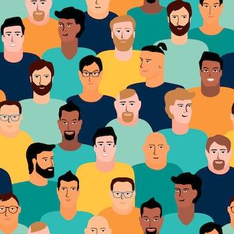 男性の顔とベクトルシームレスなパターン