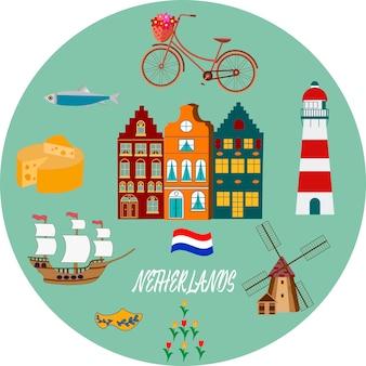 オランダ旅行文化と観光のシンボルフレームチューリップ木製下駄や風車