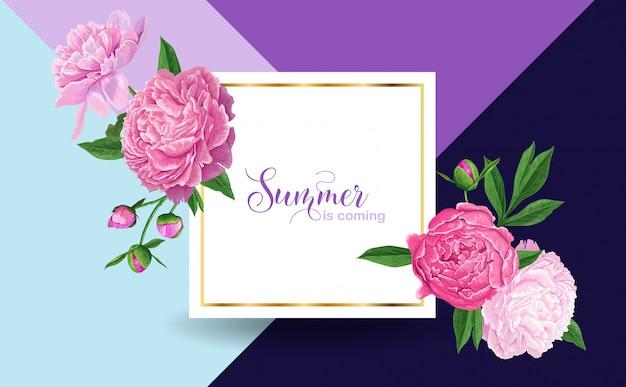 牡丹の花とこんにちは夏の花柄のデザイン