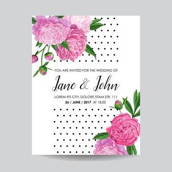 Цветочная свадебная пригласительная открытка с цветами