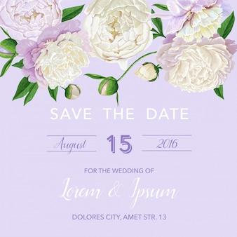 Цветочное свадебное приглашение сохранить карточку даты