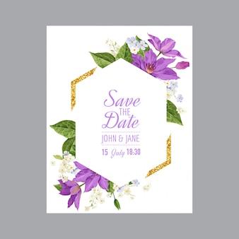 クレマチスの花の結婚式の招待状のテンプレート