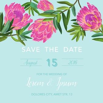 ピンクの花と結婚式の招待状のテンプレート