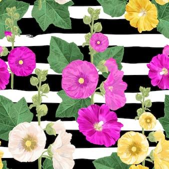 マルヴァ花のシームレスなパターン。花と夏の花の背景。