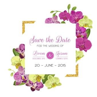 Шаблон макета свадебного приглашения с цветами орхидеи.