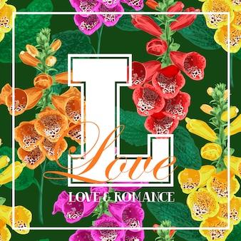 こんにちは夏の花のデザインと花の熱帯