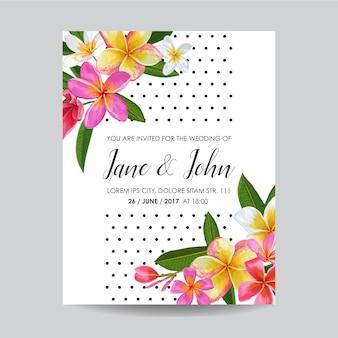 花と結婚式の招待状。日付カードを保存する