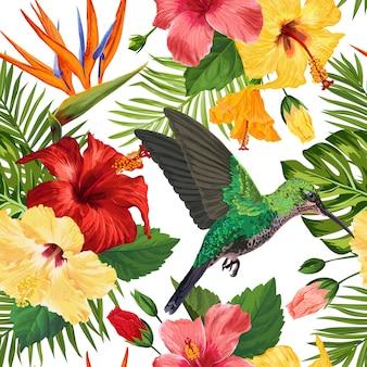 熱帯の花柄シームレスパターン