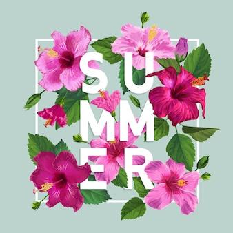 こんにちは夏ポスター花柄