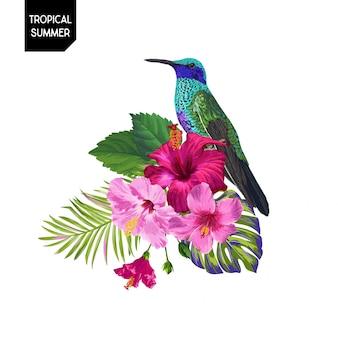 Летний тропический колибри и цветы