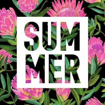 こんにちは夏のトロピカルデザイン花