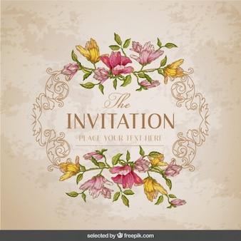 花のフレームとヴィンテージのカード