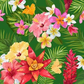 Акварель тропических цветов бесшовные модели. экзотические цветы плюмерии