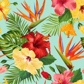 水彩の熱帯の花のシームレスパターン。花の手描きのエキゾチックな咲く花