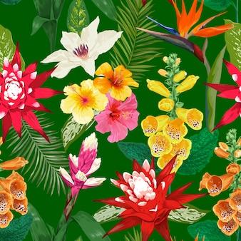 熱帯の花のシームレスパターン。タイガーユリの花とハイビスカス。水彩ブルーミング