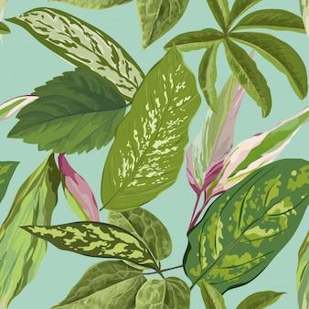 ヤシの葉と熱帯のシームレスパターン壁紙