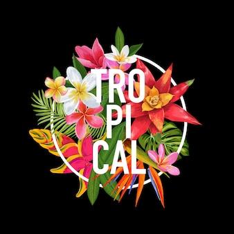 Тропический цветочный дизайн. иллюстрация экзотических цветов плюмерии