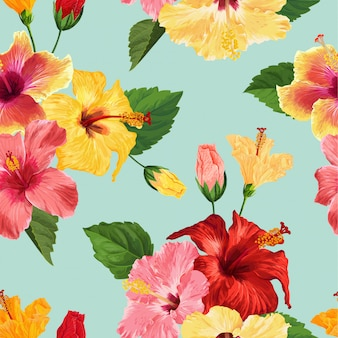 熱帯のハイビスカスの花のシームレスなパターン花の背景