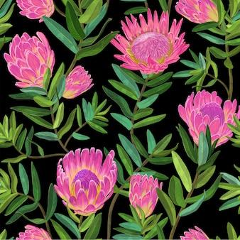 プロテア花とシームレスな花柄
