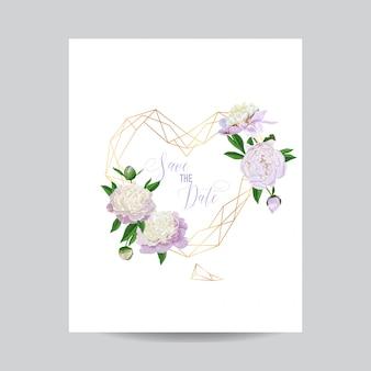 結婚式の招待カード花のテンプレート日付を保存