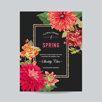 花と結婚式の招待状のレイアウトテンプレート