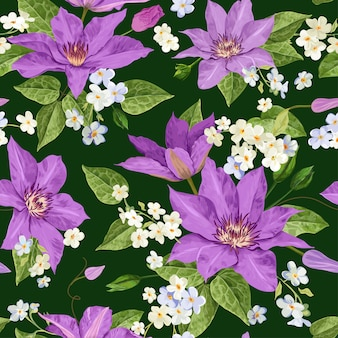 水彩花の熱帯のシームレス花柄